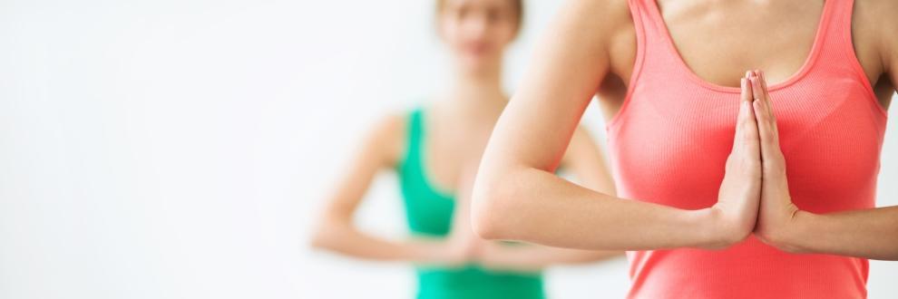 2 Frauenoberkörper - Die Hände sind vor der Brust aneinander zum Gruß gefaltet.