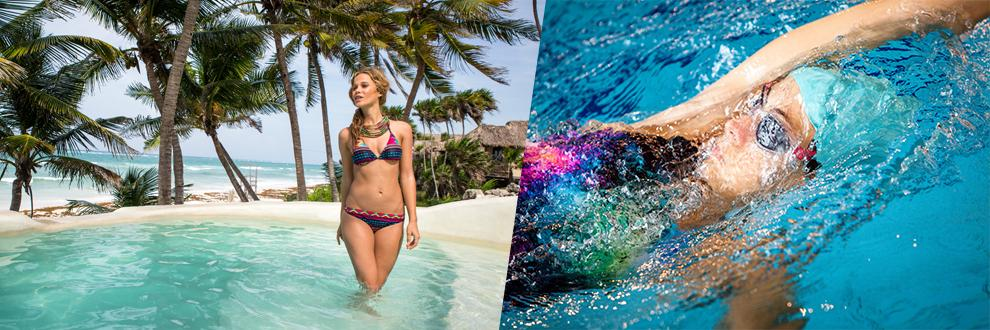 Eine Frau in Badeanzug und eine in Bikini.