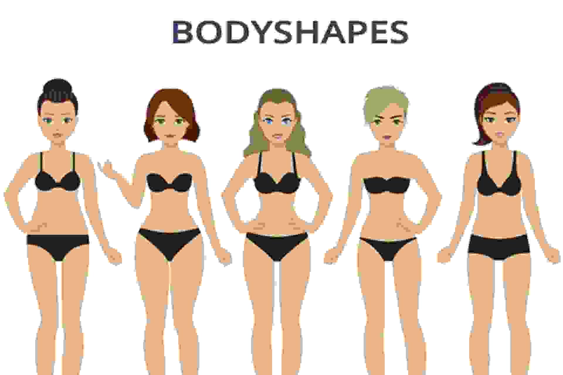 Grafische Darstellung der unterschiedlichen Bikinifiguren/Körperformen.
