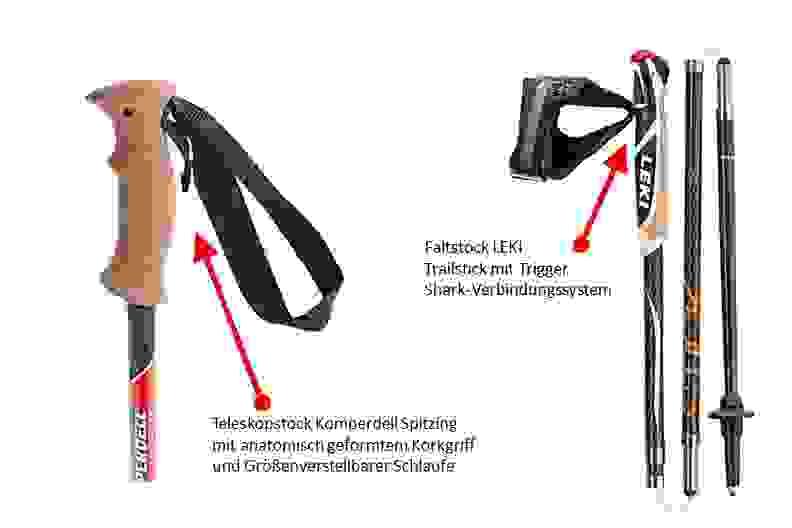 Abbildung diverser Griffe von Trailrunningstöcken.