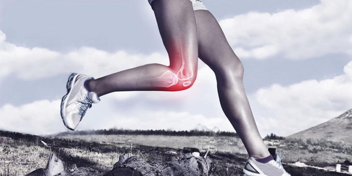 Eine grafische Darstellung von hoher Belastung des Kniegelenks beim Trailrunning.