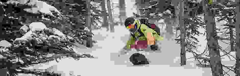 Ein Snowboarder fährt eine bewaldete Piste hinab.