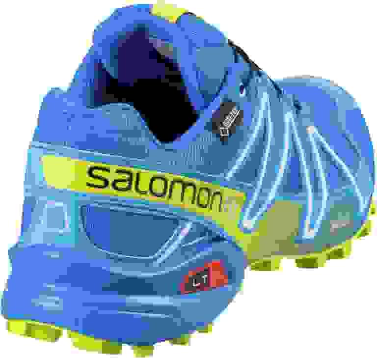 Der Salomon Speedcross 3 GTX in Blau in Nahaufnahme.