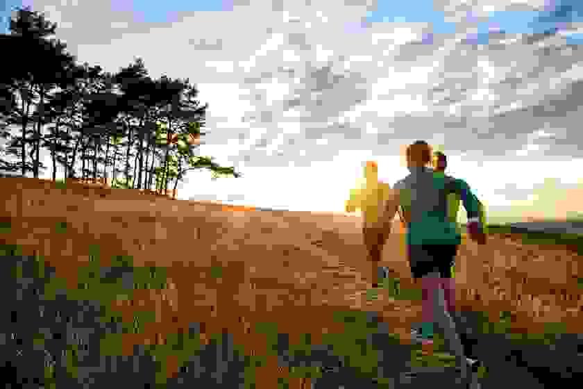 Drei Trailrunner laufen bei einem herrlichen Sonnenuntergang über einen Feldweg.