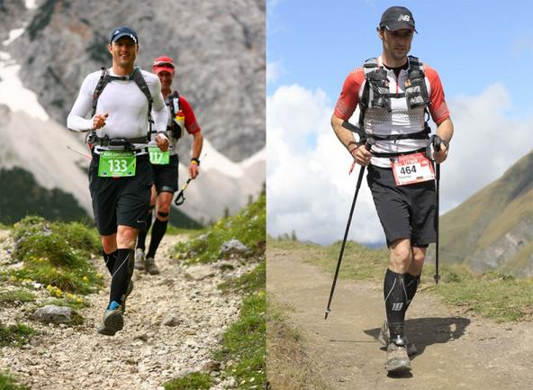 Thomas Reichl von vorne fotografiert, während er einen Bergpfad hinabläuft.