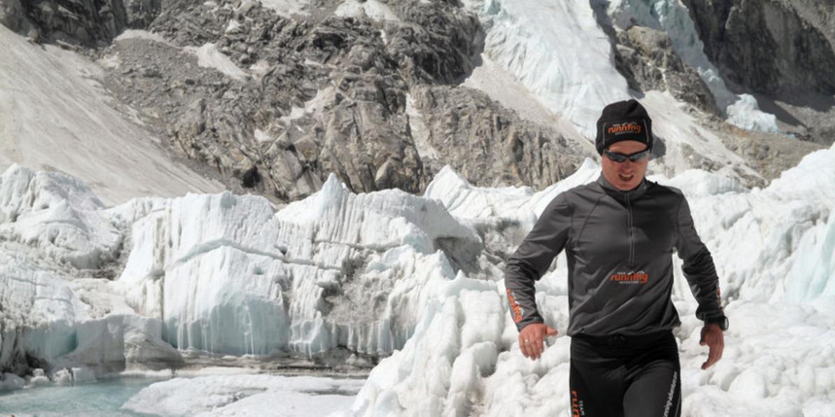 Michele Ufer beim Trailrunning im Eis.