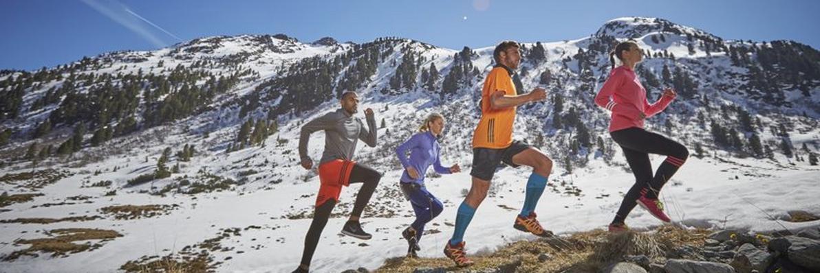 4 Trailrunning Läufer abgebildet vor einem Bergpanorama.