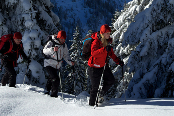 Eine Gruppe von Leuten bei einer Schneeschuhwanderung.